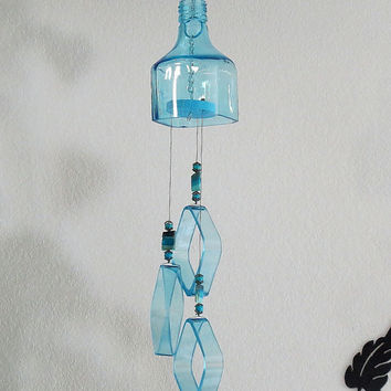 Recycled  bottle wind chime, Bombay Sapphire bottle wind chime, Yard art, Glass bottle wind chime, square glass, Sapphire blue glass