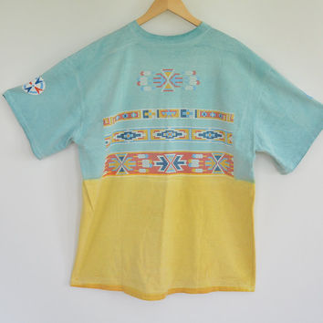 Over Sized Tee American Indian Bead Work Puffy Paint Design Faux Indian Beaded Pattern Size XL Unisex Vintage 80's