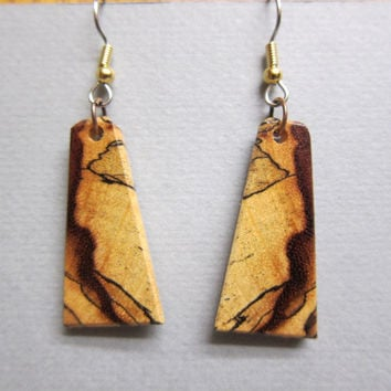Small Spalted Tamarind Earrings, Exotic Wood hypoallergenic Ear wires handcrafted by ExoticWoodJewelryAnd