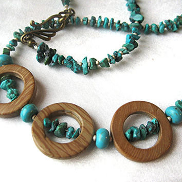 Turquoise  and tiger jasper southwest necklace. Tribal, boho, statement jewelry in earthy blue and brown. Long, layering length