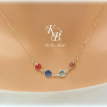 Birthstone Necklace, Mother Necklace, Birthstone Jewelry, Mothers Day Gift, Mom Gift, Sterling Necklace, Sterling Silver, Christmas Gift | KyKy's Bridal, Handmade Bridal Jewelry, Wedding Jewelry