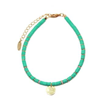 Beach Bum Anklet in Turquoise and Gold