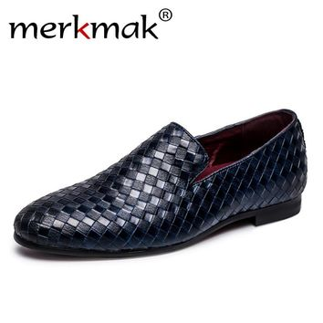 Merkmak 2017 Men Shoes luxury Brand Braid Leather Casual Driving Oxfords Shoes Men Loafers Moccasins Italian Shoes for Men Flats