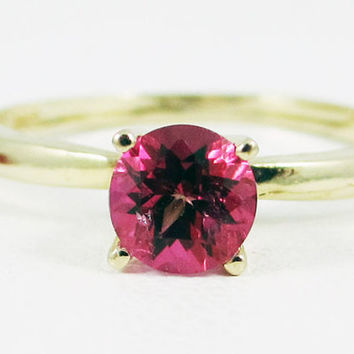 Pink Topaz Solitaire Ring 14k Yellow Gold, Solid 14 Karat Gold Ring, 14k Gold Pink Topaz Ring, Yellow Gold Pink Topaz ring, Solitaire Ring