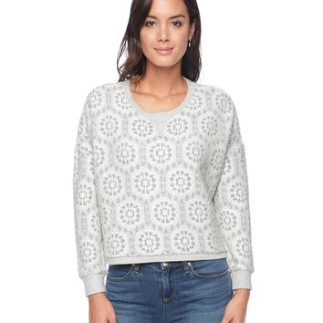 Heather Dove/Angel Lace Cozy Bonded Lace Pullover by Juicy Couture,