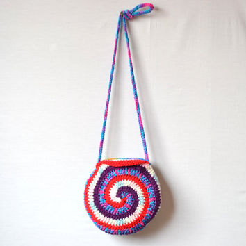 Circular Swirls Crazy Crochet Hobo Bag, Pouch, Small, Bright, Colorful, Sling Bag, Hippie Purse