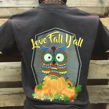 Southern Chics Love Fall Y'all Aztec Owl Pumpkin Girlie Bright T Shirt