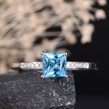 Swiss Blue Topaz Engagement Ring Solitaire Princess Cut Diamond Women Promise Ring