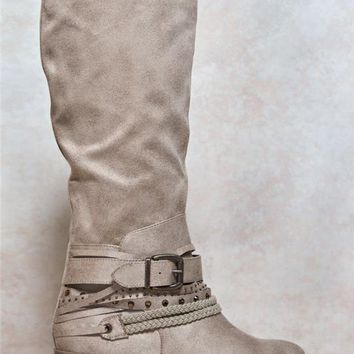 Faux Suede Embellished Strap Boots