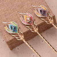 Fashion Gold Plating Crystal Resin  Hair Sticks Rhinestone Leaf Mix ColorLadies Hair Accessories