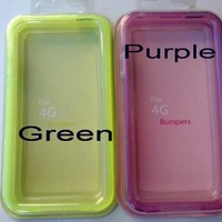 Purple Translucent Glow in the Dark Premium Bumper Case for Apple iPhone 4/4s (Free Front+Back Protector Films)