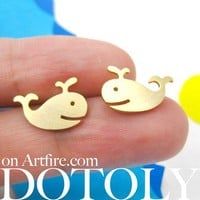 Happy Whale Animal Stud Earrings in Gold - ALLERGY FREE