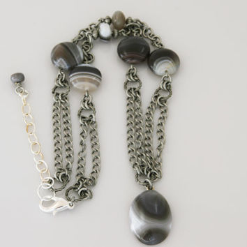 Tube Agate Pendant Necklace on Strand of Antique Silver Chain with Botswana Agate Beads
