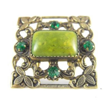 Art Nouveau Brooch Green Czech Glass Brass Stamping Foliate Motif