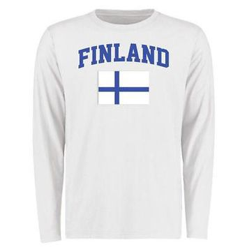 Licensed Sports Finland Flag Long Sleeve T-Shirt - White KO_20_2