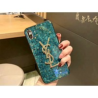 YSL Tide brand soft shell marble iPhone XS Max phone case Green