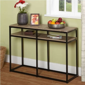 Natural Finish Sofa Table Black Metal Frame With Reclaimed Wood Look Shelf New