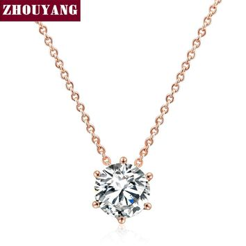 Top Quality Simple Six Claw CZ Rose Gold Color Nickel Free Pendant Necklace Crystal ZYN431 ZYN432