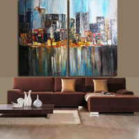 ART Acrylic Painting Original Large Wall Art Collections Home Decor Abstract Modern Mixte Contemporary New-York City By Kathleen Artist PRO
