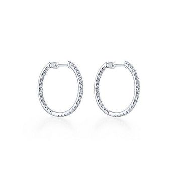 14K White Gold 1cttw Inside Out Diamond Hoop Earrings
