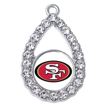 Personalized San Francisco 49ers team logo sticker rhinestone inlaid metal pendant for exquisite football jewelry accessories