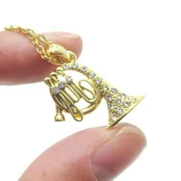 French Horn Instrument Shaped Rhinestone Pendant Necklace in Gold | For Music Lovers