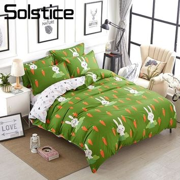Solstice Home Textile Green Bedding Set Kid Teen Carrot Rabbit Duvet Quilt Cover Pillowcase Bed Sheet King Queen Twin Full Linen