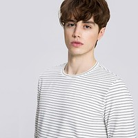 Men Autumn Long Sleeve Stripe O Neck T Shirt Casual Basic T-shirt