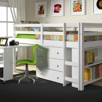 CAPTAIN TWIN LOFT BED W/CHEST AND ROLL-OUT DESK (WHITE FINISH)