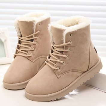 Women's Classic Suede Fur Lined Winter Boots