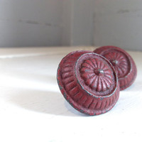 Vintage, Furniture, Hardware, Drawer Pulls, Cabinet Knobs, Round, Heavy, Metal, Red, Lot of Two,  French, Country, RhymeswithDaughter