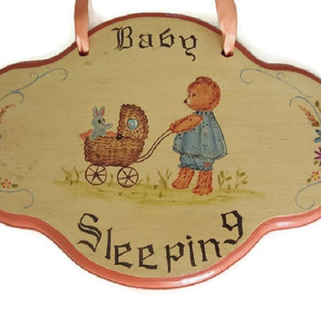 Baby Sleeping Sign - Baby Girl Gift - Baby Nursery Wall Art - Baby Shower Gift - Vintage Handmade Baby Sign - 80s Hand Painted Sign - 1980s