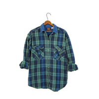 Vintage Plaid Shirt 90s Blue & Green Grunge Boyfriend Top Denim Collar Button Up Long Sleeve Cotton Boho Tomboy Medium