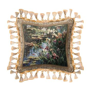 Fine Art Tapestries Home Decorative Summer Lily Fringe Cotton Pillow