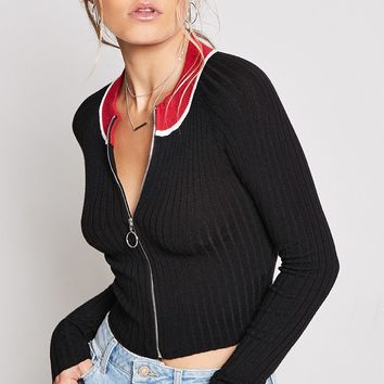 Pull-Ring Cropped Cardigan