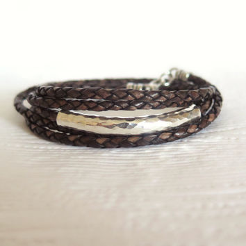 Braided Leather Wrap Bracelet with Hill Tribe Silver / Urban Style / Mocha Brown / Vintage Dark Brown