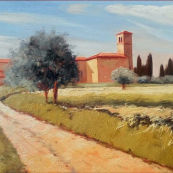 Italian painting quiet in Tuscany landscape original oil on canvas of Leonardo Casali Italy Italia Toscana Paesaggio dipinto