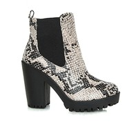 Missguided - Flavia Snake Print Chelsea Boots