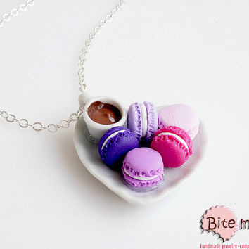 Mini Food Coffee and Macarons Necklace ,Miniature Food Jewelry, Polymer Clay Sweets, Food Jewelry, Handmade Necklace, Kawaii Jewelry