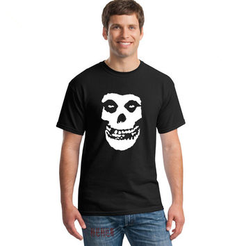 Fashion Misfits Punk Rock band Skull T Shirt Mens Casual Short Sleeve Printed T-shirts  - Plus Size Available