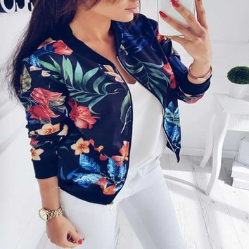 Wipalo Autumn Spring Jacket 2018 Women Baseball Bomber Jacket Stand Collar Long Sleeve Floral Zip Up Biker Coat Chaqueta Mujer