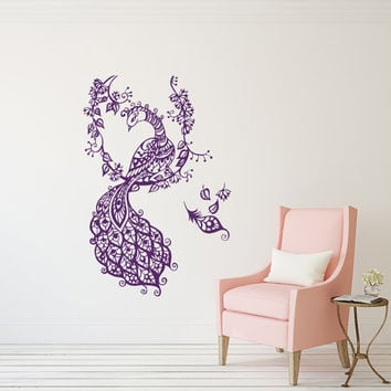 Peacock Decals Peafowl Tail  Vinyl Sticker Art  Peacock Feather Wall Decals Bedroom Nursery Home Decor Boho Bohemian Bedding T177