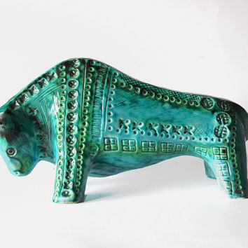 Very Rare Large Green Dutch Bitossi Style Bull -  Jema Holland 60s