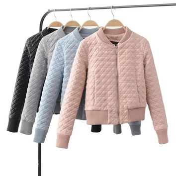 Autumn Quilted Long sleeve Faux Leather Baseball Jacket Thin Padded Baseball Bomber Coat Pilots Trendy Women Outerwear 4Color