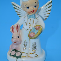 Napco April Boy Angel Figurine Vintage Napco Japan Easter Bunny and Eggs April Angel of the Month Easter Decor Gift for Him April Birthday