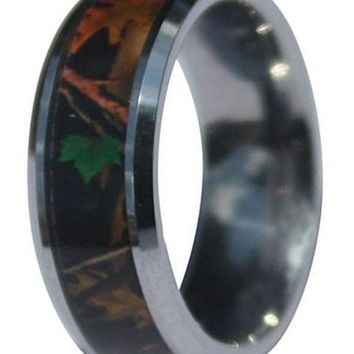 CERTIFIED Mens Tungsten Woodlands Hideaway Camo Wedding Ring