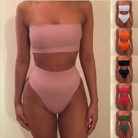 Sexy strapless nude two piece high waist bikini