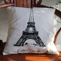 Home Sofa Decorative Eiffel Tower Throw Pillow Case Cushion Cover