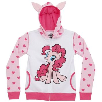 My Little Pony - Pinkie Pie Front Girls Youth Costume Zip Hoodie - Youth Large - White