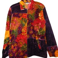 Chico's Womens Colorful Elegant Embroidered Velveteen 1 Multicolored Jacket